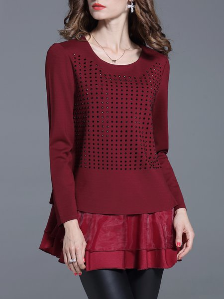 Red Shift Ruched Casual Long Sleeved Top