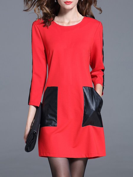 Simple Color-block 3/4 Sleeve H-line Mini Dress