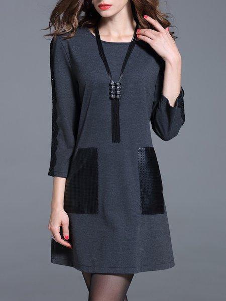 Gray 3/4 Sleeve Paneled Plain A-line Mini Dress