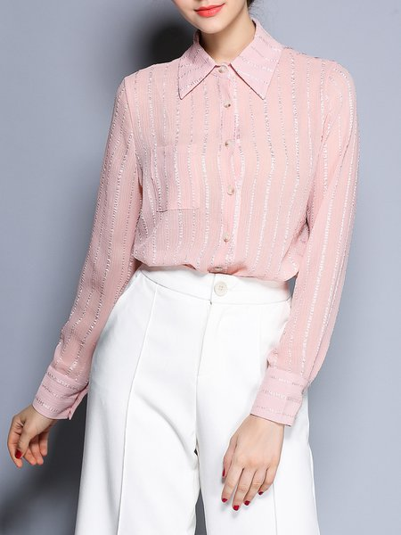 Pink Stripes Shirt Collar Long Sleeve Blouse