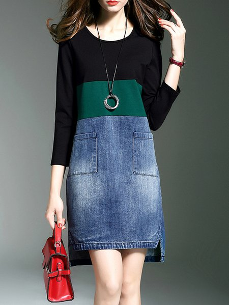 Blue 3/4 Sleeve Color-block Mini Dress