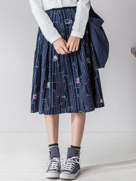 Navy Blue Abstract Crew Neck Casual Midi Skirt
