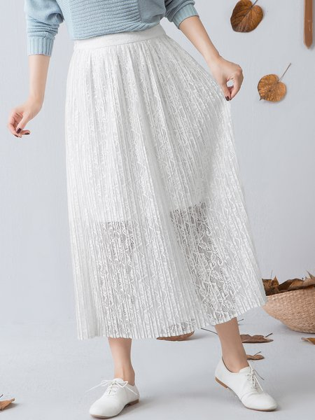 Casual Pierced Lace A-line Midi Skirt