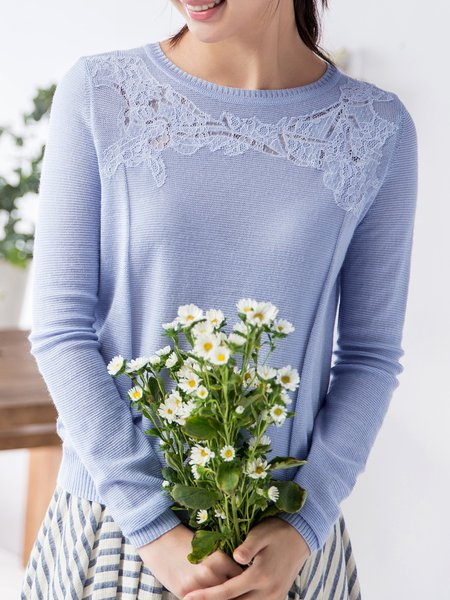 Knitted Plain Casual Nylon Long Sleeve Sweater