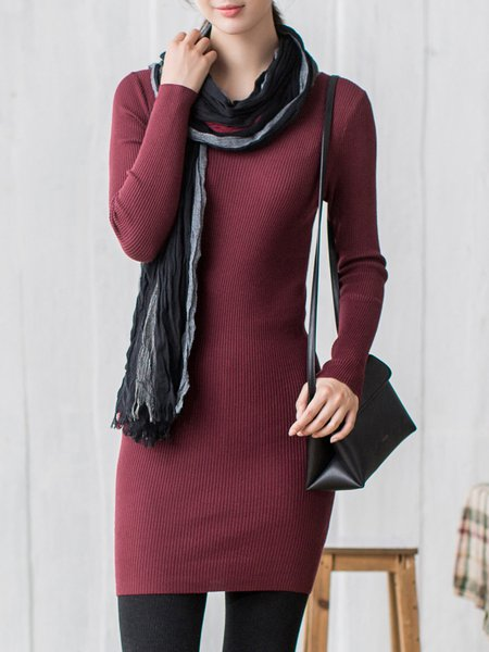 Casual Knitted Bodycon V Neck Mini Dress