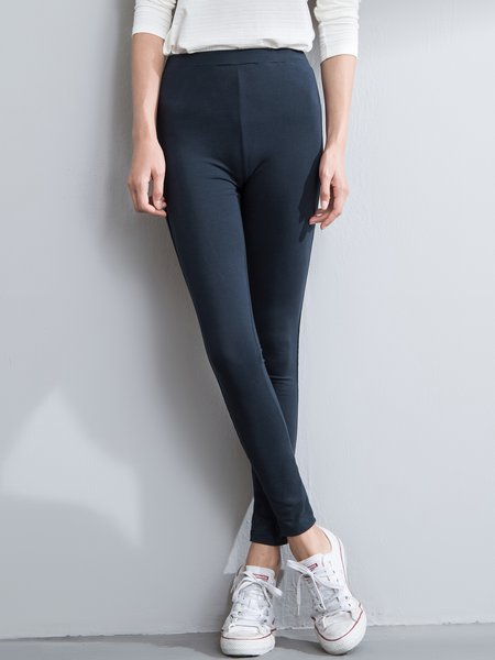 Navy Blue Plain Sports Leggings