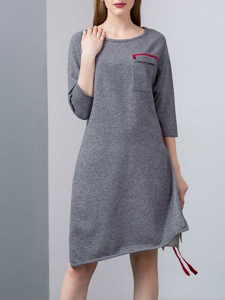 Gray 3/4 Sleeve Polyester Plain Crew Neck Slit Tunic