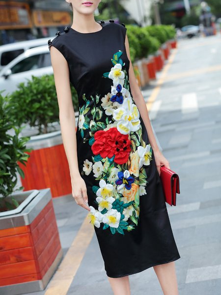 Vintage Sleeveless Polyester Floral Print Midi Dress