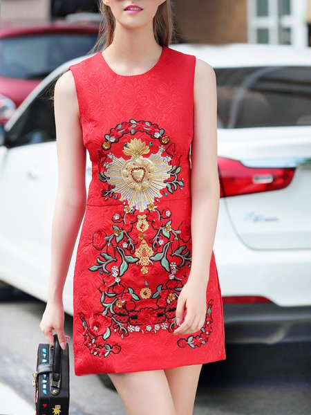 Red Embroidered Cotton Sleeveless Mini Dress