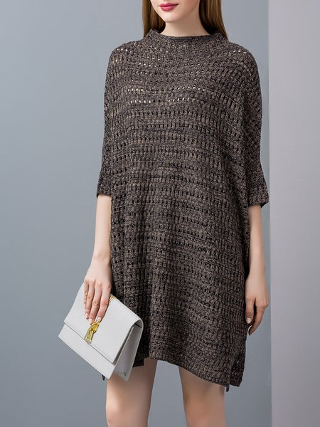Coffee Batwing Wool Blend Knitted Sweater