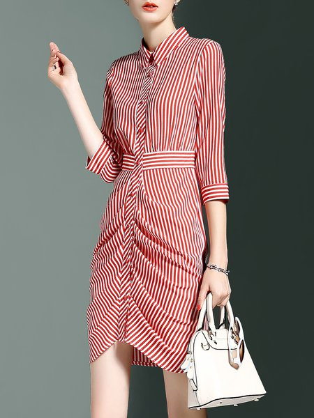 Red Polyester 3/4 Sleeve Stripes Asymmetric Shirt Dress