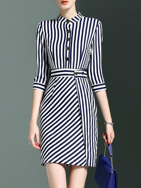 3/4 Sleeve Simple Stripes Mini Dress