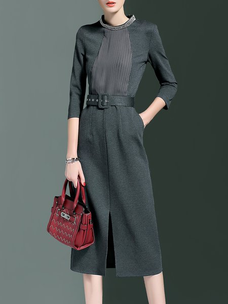 Gray Slit Cotton-blend A-line 3/4 Sleeve Plain Simple Midi Dress with Belt