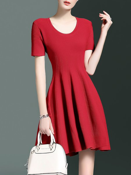 Embossed A-line Short Sleeve Plain Simple Mini Dress