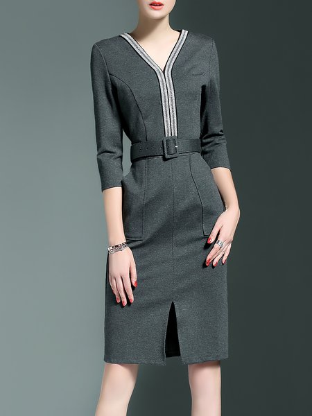 Gray A-line Slit 3/4 Sleeve Midi Dress