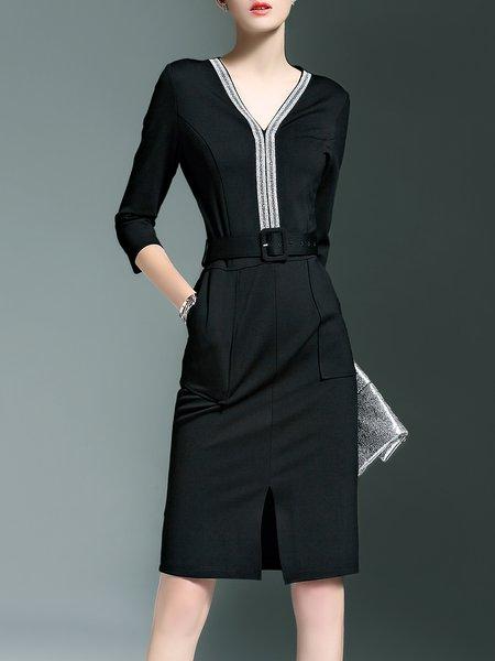 Simple 3/4 Sleeve Slit Plain Pockets Midi Dress with Belt