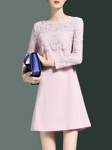 Crew Neck Long Sleeve A-line Cocktail Lace Paneled Mini Dress