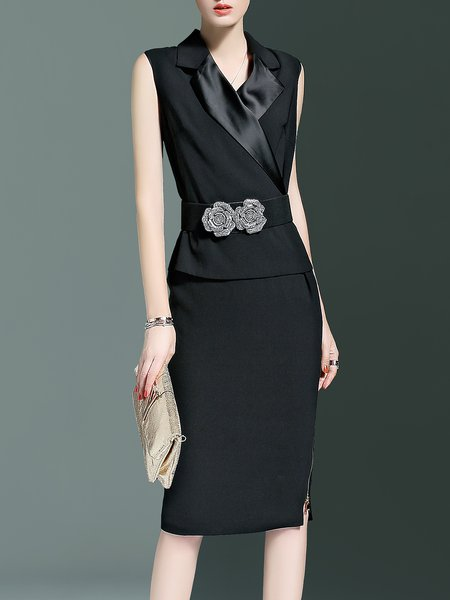 Black Appliqued Polyester Formal Midi Dress with Belt