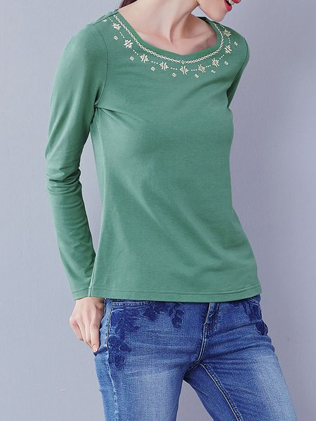 Green Embroidered Simple Stretchy Long Sleeved Top