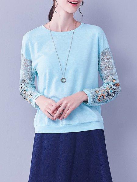 Light Blue Plain Crochet-trimmed Cotton-blend Long Sleeved Top