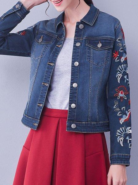 Denim Statement Floral Long Sleeve Embroidered Cropped Jacket
