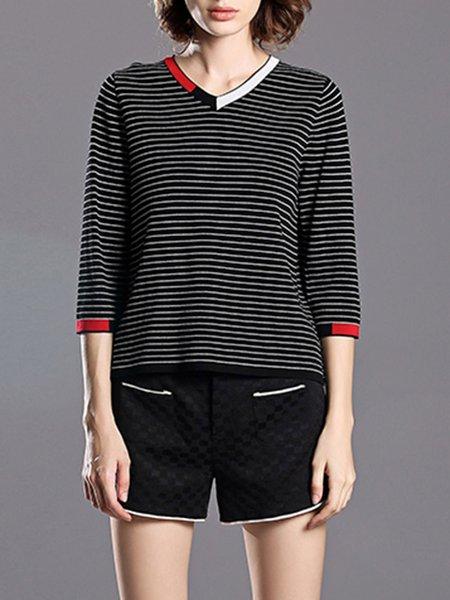 Black Printed H-line Stripes 3/4 Sleeve T-Shirt