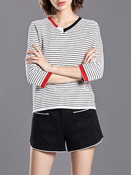 White Printed V Neck H-line Casual Stripes T-Shirt