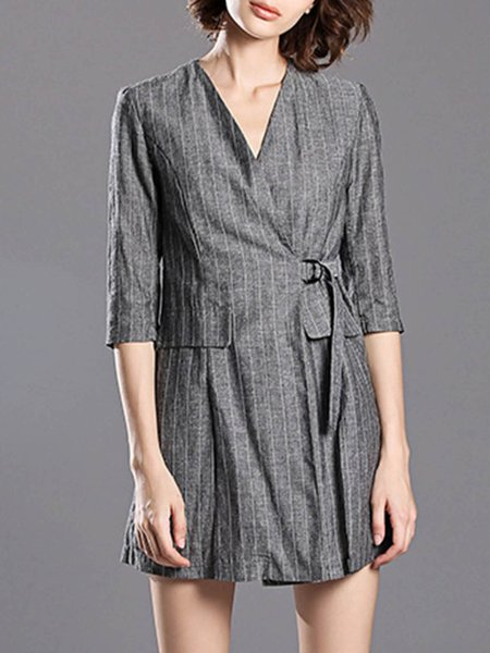 3/4 Sleeve Casual V Neck Linen Stripes Two Piece Romper