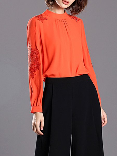Orange Long Sleeve Stand Collar Pierced Embroidered Blouse