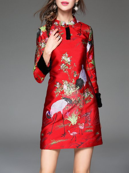 Red Jacquard Long Sleeve Graphic Vintage Mini Dress