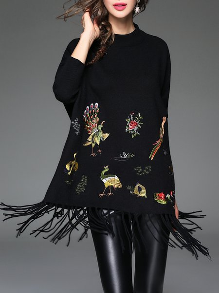 Black Bird Print Fringed Casual Acrylic Embroidered Tunic