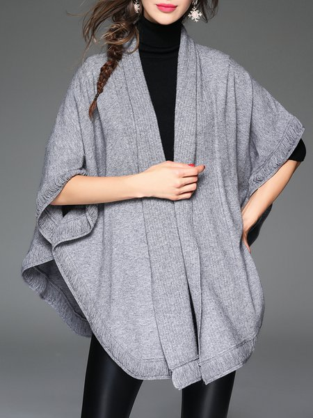 Gray Knitted Plain Batwing Cashmere Knitted Poncho