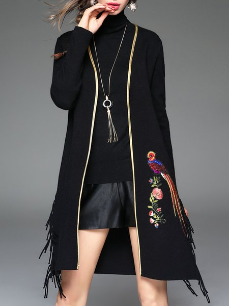 Black Sequins Casual Fringed Animal Print Cashmere Coat