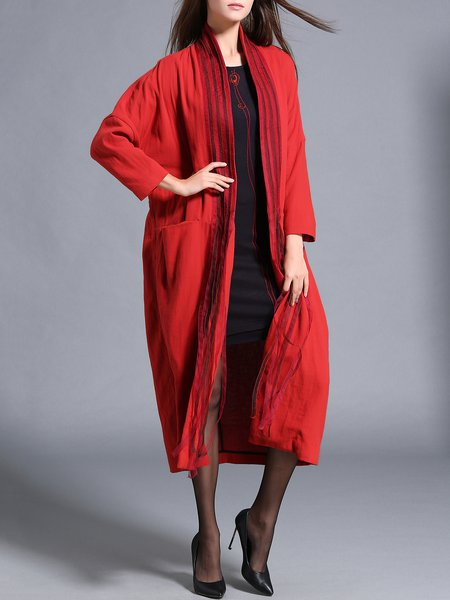 Plain Shift Casual Paneled Long Sleeve Coat