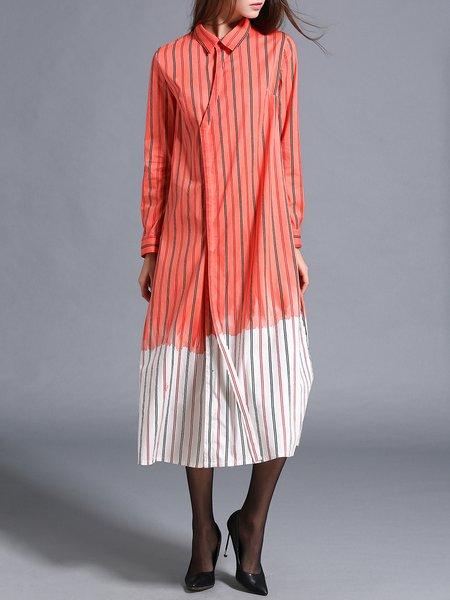 Orange Long Sleeve Slit Ombre/Tie-Dye Cotton Shirt Dress
