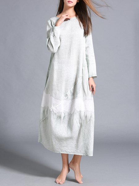 Gray Long Sleeve Ramie Asymmetric Maxi Dress