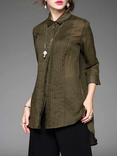 H-line Casual 3/4 Sleeve Shirt Collar Plain Tunic