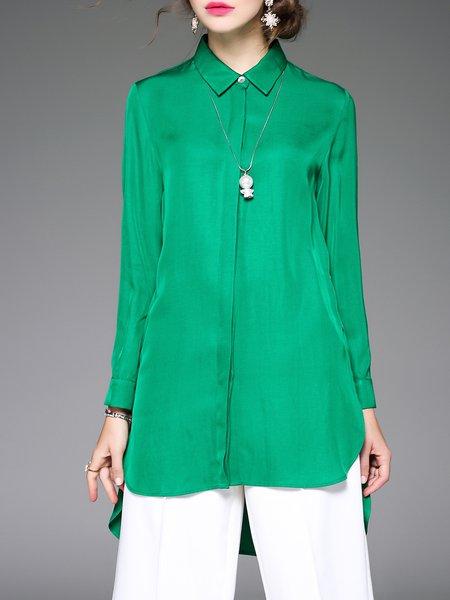 Green Casual Asymmetric Plain Tunic