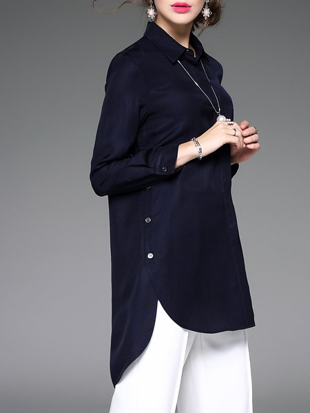 Asymmetric Casual Plain Long Sleeve Tunic