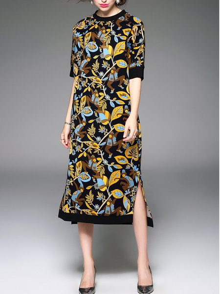 Yellow Floral Slit Half Sleeve Shift Midi Dress