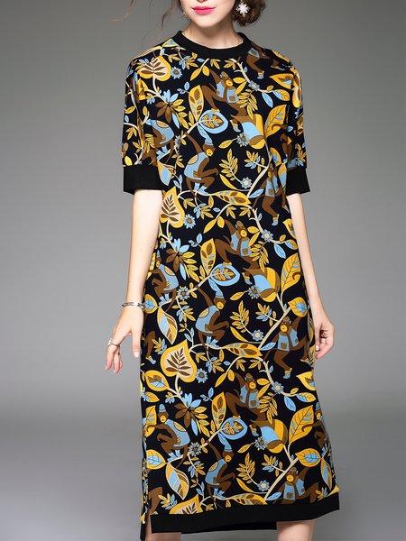 Cotton-blend Vintage Shift Floral Print Half Sleeve Midi Dress