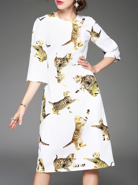 White Animal Print 3/4 Sleeve Printed Midi Dress