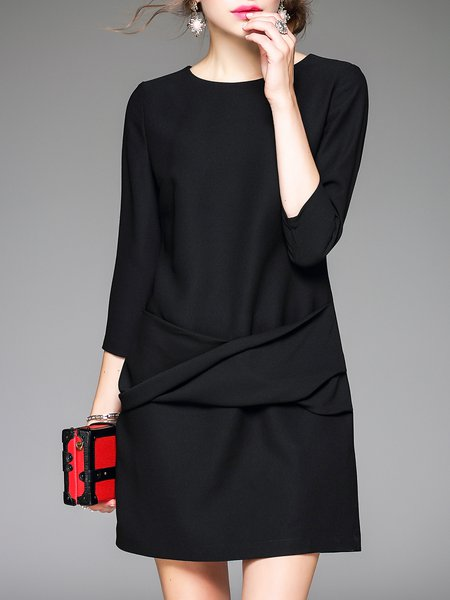 Black Solid 3/4 Sleeve Crew Neck Mini Dress