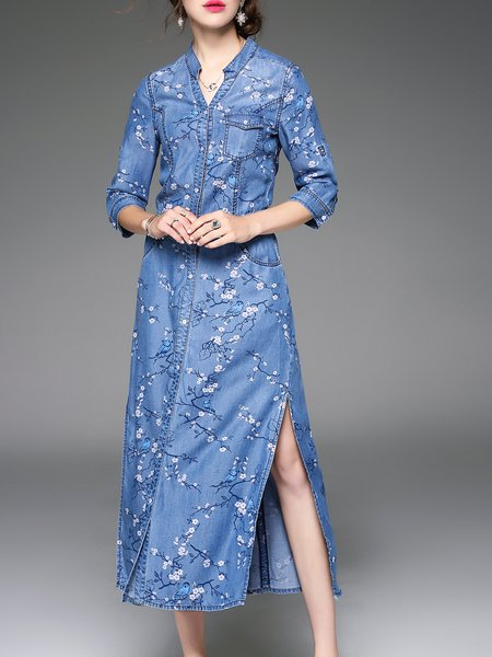 Denim Casual Stand Collar 3/4 Sleeve Slit Midi Dress