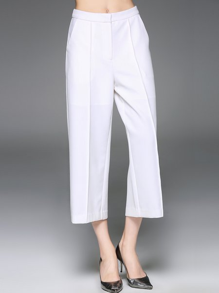White Plain Simple Spandex A-line Wide Leg Pants