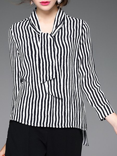 Casual Stand Collar Long Sleeve Stripe Blouse