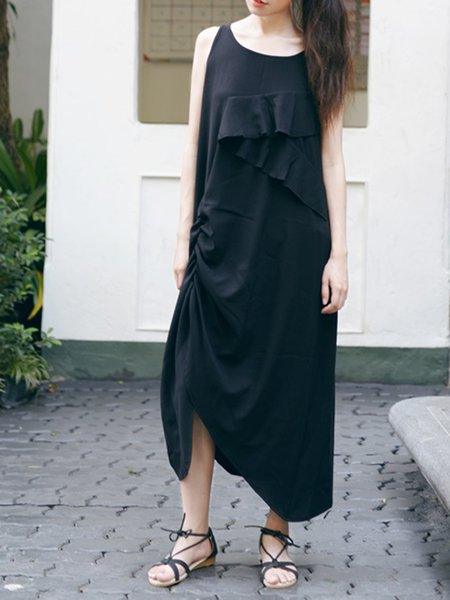Black Plain A-line Sleeveless Asymmetric Maxi Dress