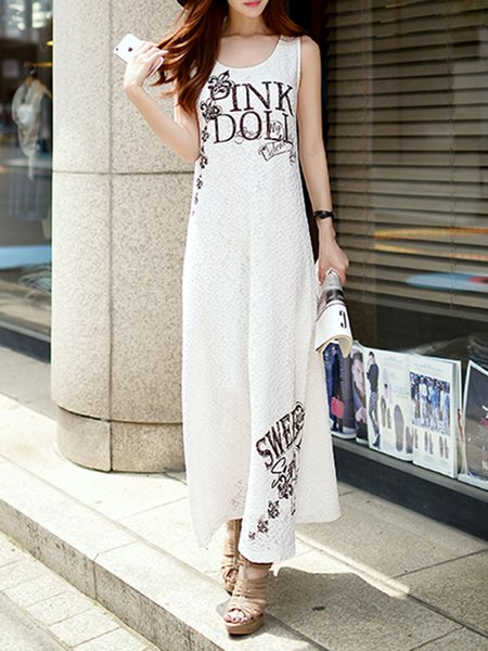 White A-line Casual Lace Maxi Dress