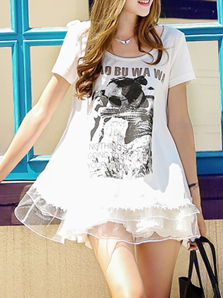 White Paneled Casual Graphic Crew Neck Tunic