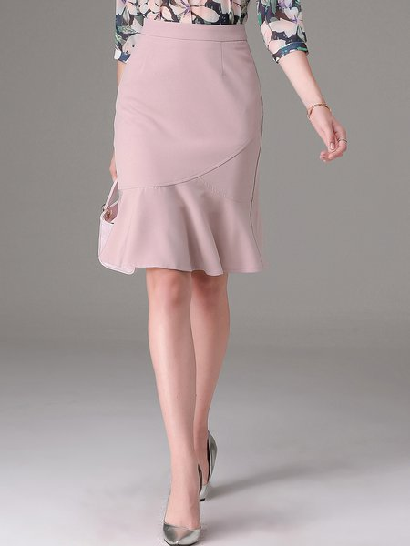 Pink Sheath Casual Plain Ruffled Midi Skirt